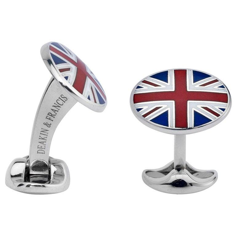 Deakin & Francis Sterling Silver Union Jack Enamel Cufflinks For Sale