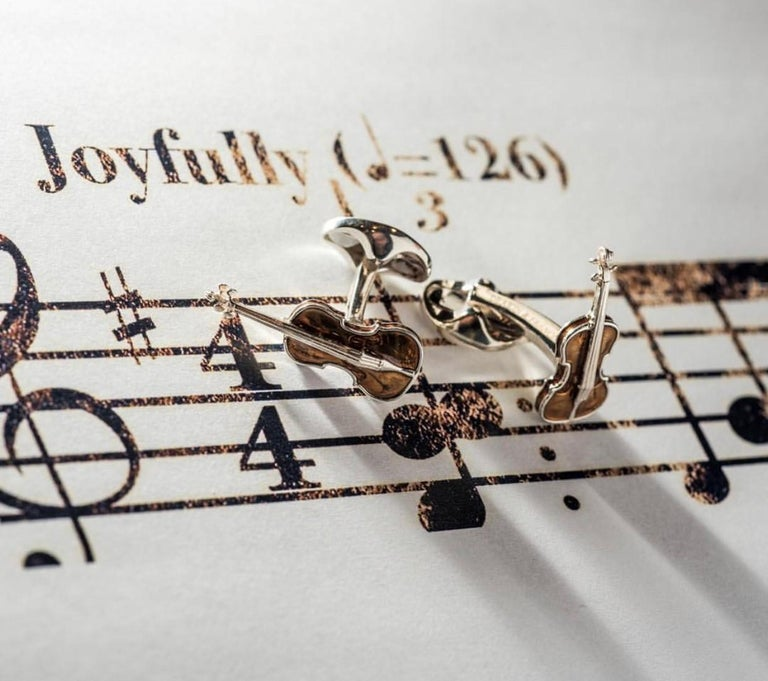 DEAKIN & FRANCIS, Piccadilly Arcade, London  Pull on his heart strings with these elegant violin cufflinks.  The heart of the orchestra, the violin is a wonderful classical instrument. And these music inspired, sterling silver cufflinks will add a