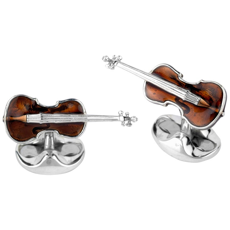 Deakin & Francis Sterling Silver Violin Cufflinks For Sale