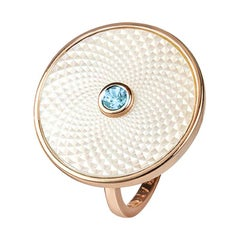 Deakin & Francis Sterling Silver White Mother of Pearl Ring with an Aquamarine