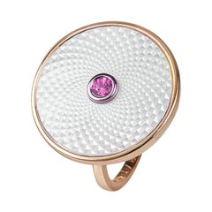 Deakin & Francis Sterling Silver White Mother of Pearl Ring with Pink Sapphire