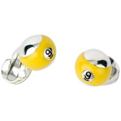 Deakin & Francis Sterling Silver Yellow Enamel Pool Ball Cufflinks