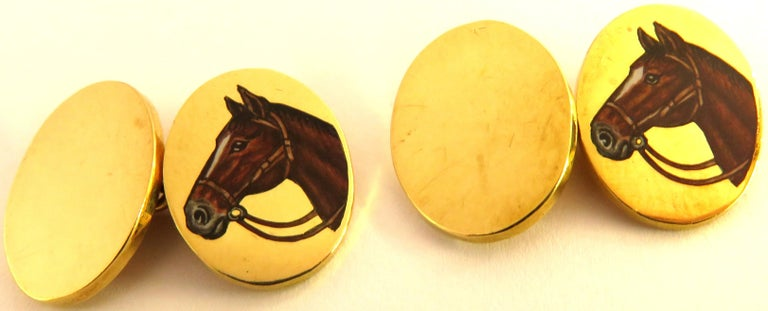 Art Deco Deakin & Francis Superbly Enameled 18 Karat Horse Head Double Sided Cufflinks For Sale