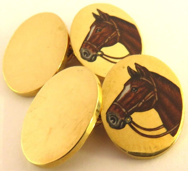 Women's or Men's Deakin & Francis Superbly Enameled 18 Karat Horse Head Double Sided Cufflinks For Sale
