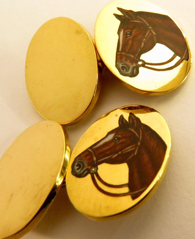 Deakin & Francis Superbly Enameled 18 Karat Horse Head Double Sided Cufflinks In Good Condition For Sale In Palm Beach, FL