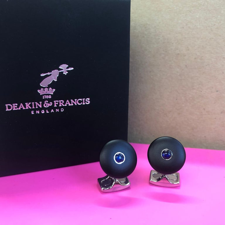 Contemporary Deakin & Francis 'The Brights' Black Round Cufflinks With Sapphire Centre For Sale