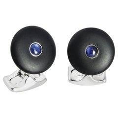 Deakin & Francis 'The Brights' Black Round Cufflinks With Sapphire Centre