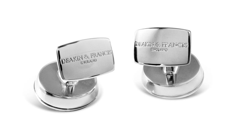Contemporary Deakin & Francis 'The Brights' Grey Round Cufflinks with Sapphire Centre For Sale