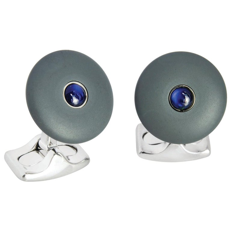 Deakin & Francis 'The Brights' Grey Round Cufflinks with Sapphire Centre For Sale