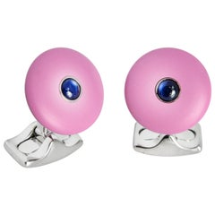Deakin & Francis 'The Brights' Lilac Cufflinks with Sapphire Centre