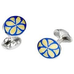 Deakin & Francis Yellow and Blue Enamel Silver Cufflinks