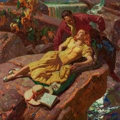 Art Deco Romantic Couple on Rocks