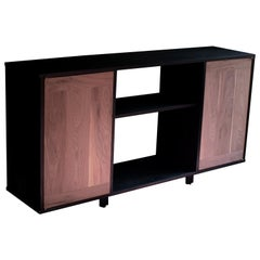 Dean James Two Tone Black and Natural Walnut Solid Wood Credenza