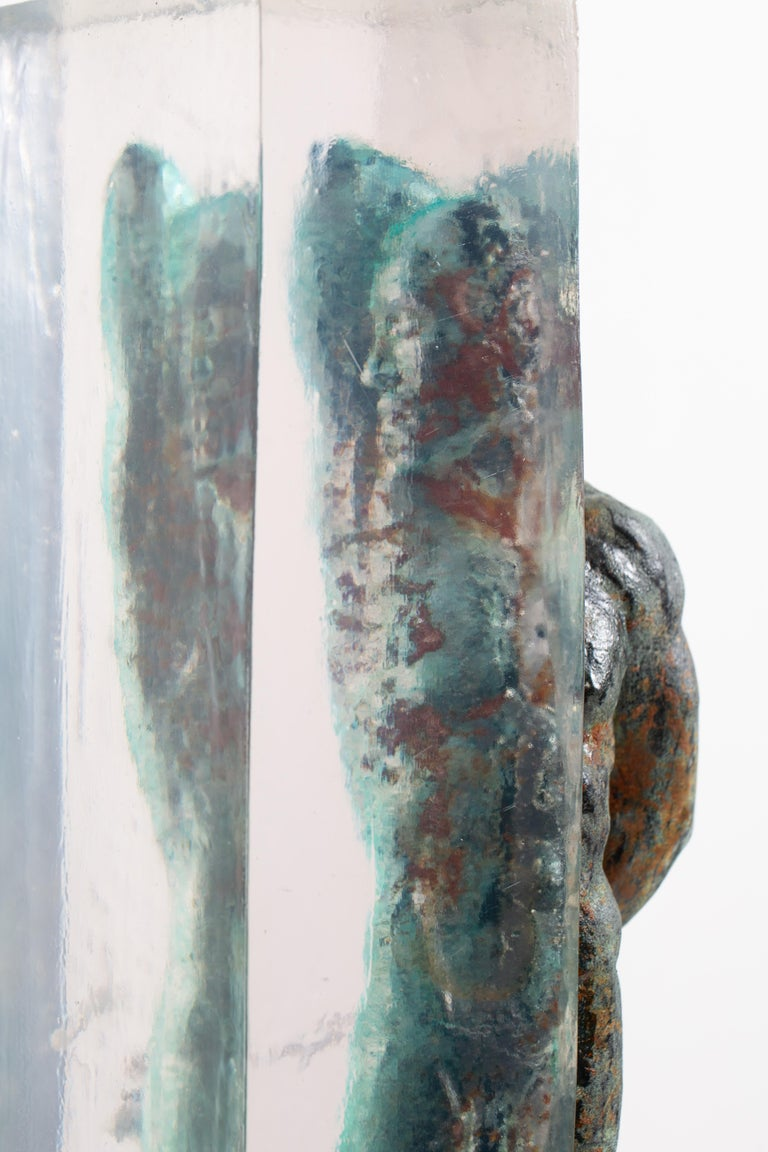 Embedded Slave - After Michelangelo, Sculpture Half Embedded in Clear Resin 12