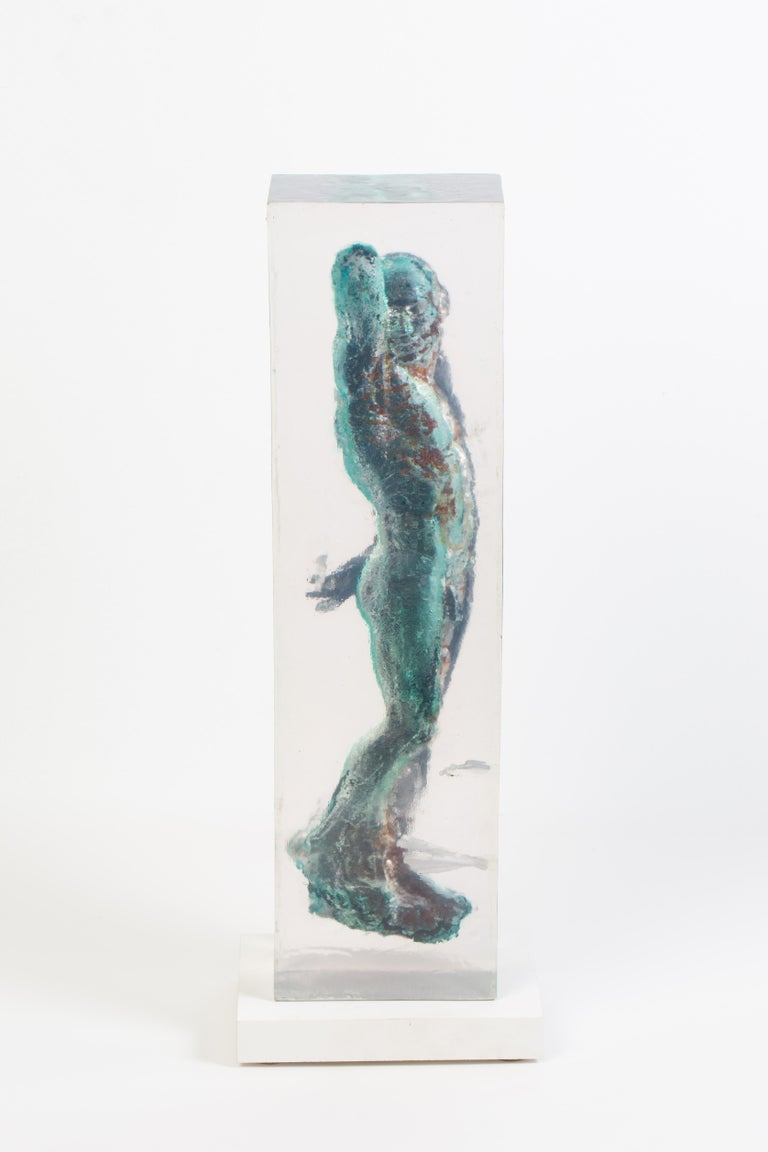 Embedded Slave - After Michelangelo, Sculpture Half Embedded in Clear Resin 17