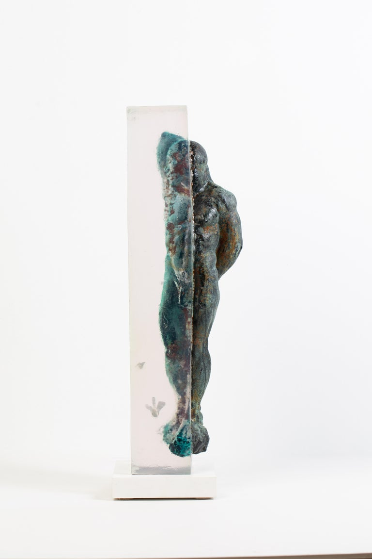 Embedded Slave - After Michelangelo, Sculpture Half Embedded in Clear Resin 18