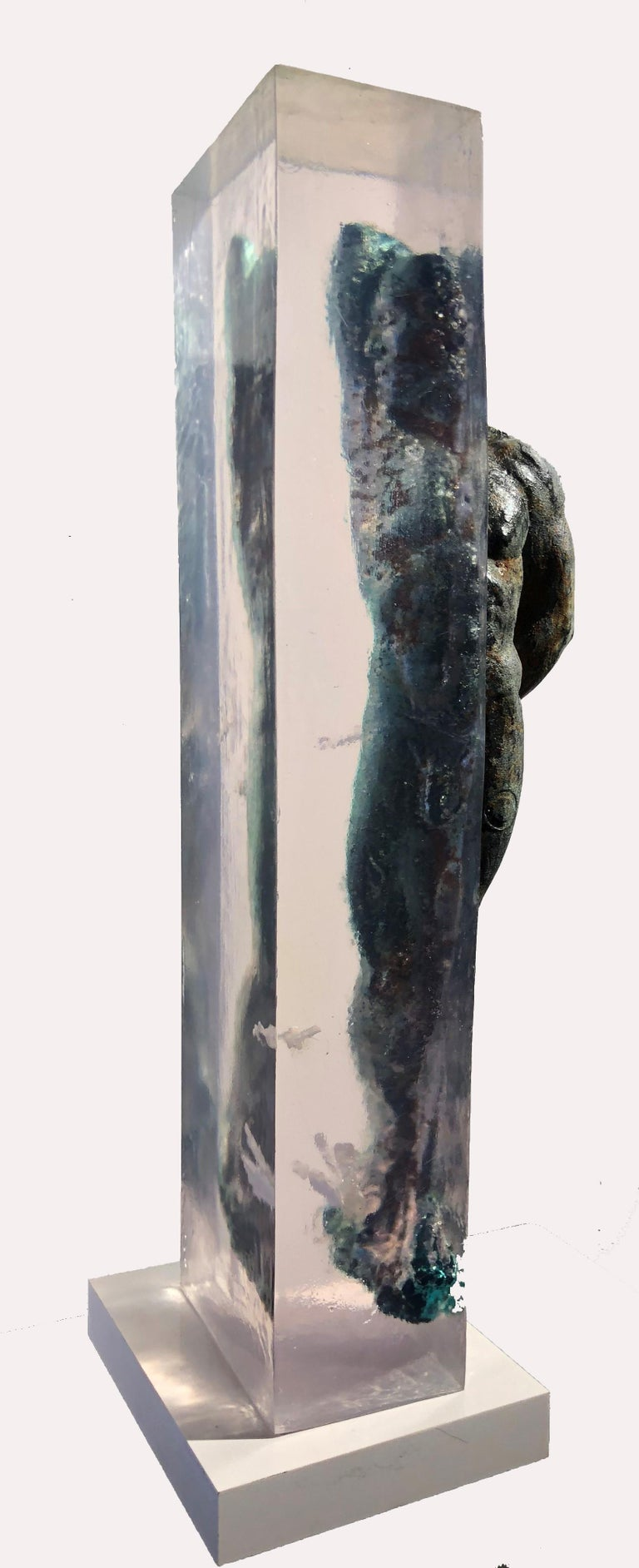 Embedded Slave - After Michelangelo, Sculpture Half Embedded in Clear Resin 4