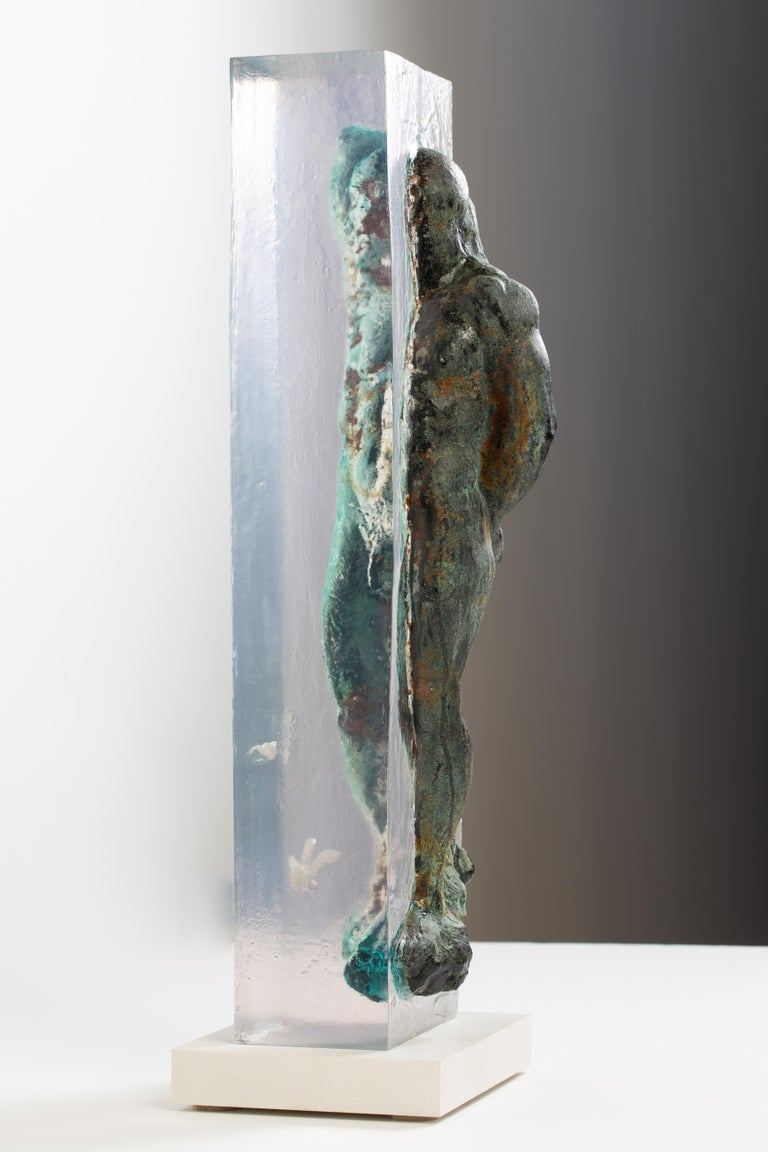 Embedded Slave - After Michelangelo, Sculpture Half Embedded in Clear Resin 8