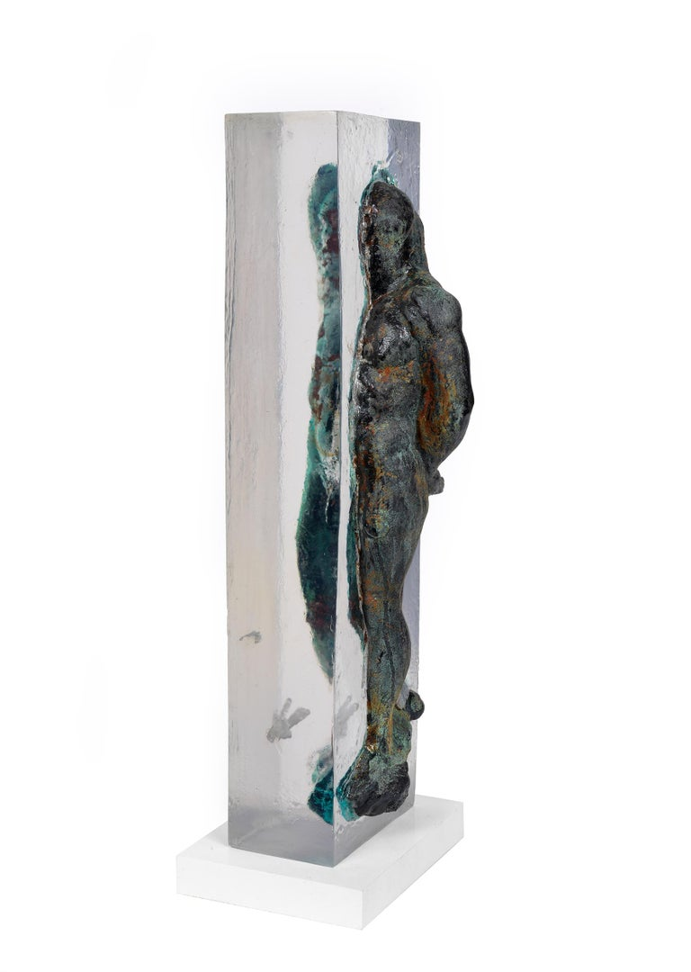 Embedded Slave - After Michelangelo, Sculpture Half Embedded in Clear Resin 2