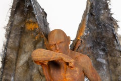 Guardian: Obscura - Winged, Bronze, Mixed Media Sculpture, Rust and Iron Patina