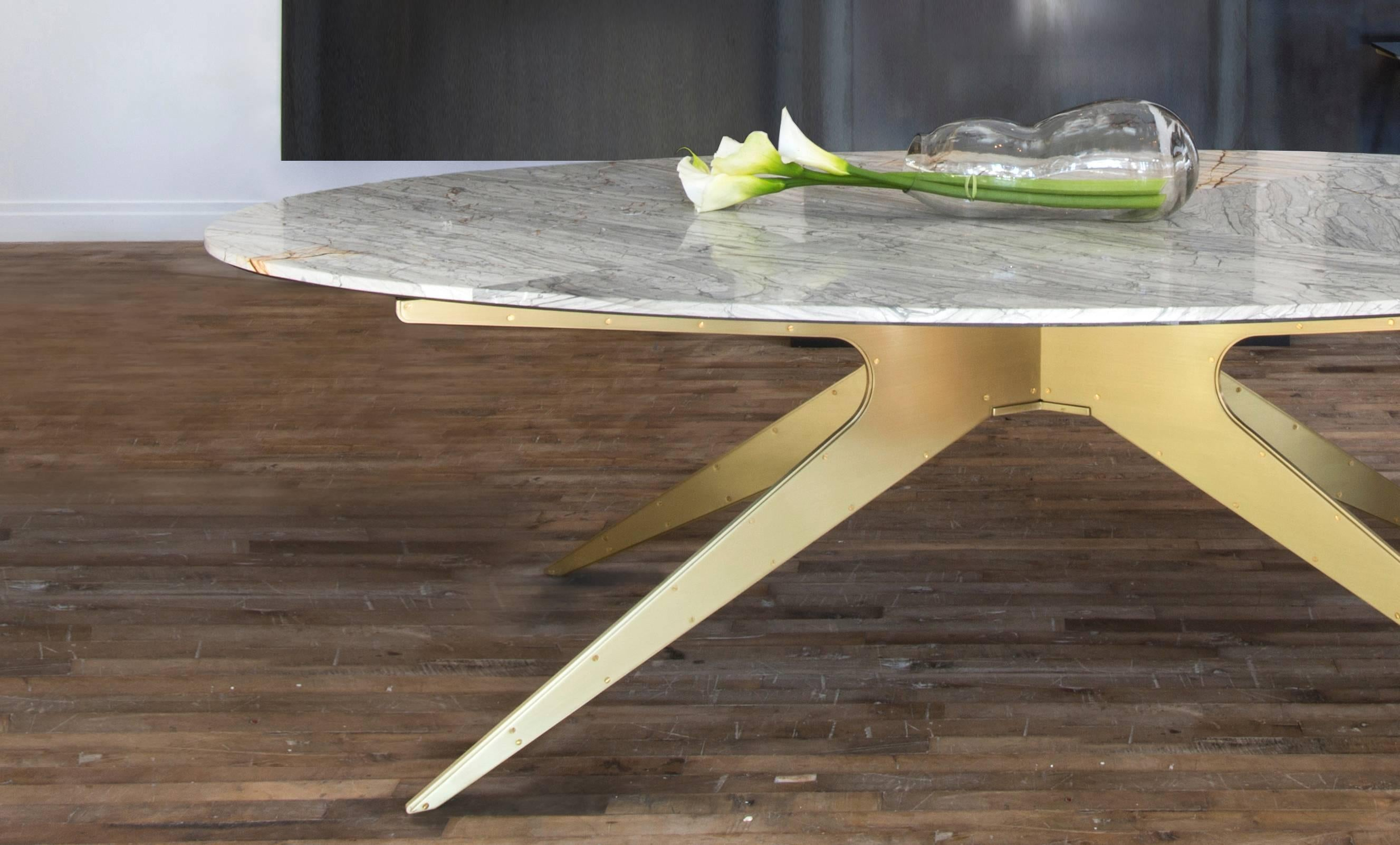 Dean Oval Dining Table With Grey Marble Top And Satin Brass Or Black Steel  Legs