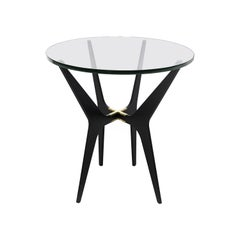 Dean Oval Side Table in Blackened Steel Base with Glass Top by Gabriel Scott