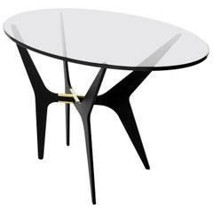 Dean Oval Side Table in Black Steel, Brass, Copper and Clear Glass