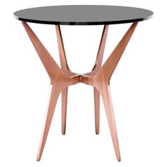 Dean Oval Side Table in Satin Copper Base with Glass Top by Gabriel Scott