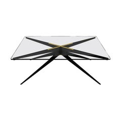Dean Rectangular Coffee Table with Black Base and Glass Top by Gabriel Scott