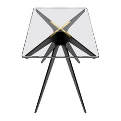 Dean Rectangular Side Table with Black Steel Base and Glass Top by Gabriel Scott