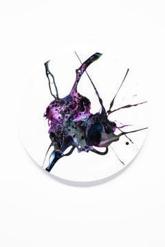 """Arcadian Dreams"" -  Purple abstract tondo painting"
