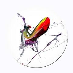 """Bollinger Club"" - Abstract tondo painting"