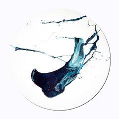 """Skyway Babylon"" - Blue abstract tondo painting"