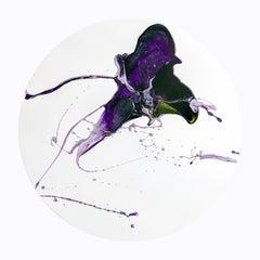 """Stalking Horse"" - Purple abstract tondo painting"