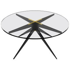 Dean Round Coffee Table in Blackened Steel Base with Glass Top by Gabriel Scott