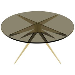 Dean Round Coffee Table in Satin Brass Base with Glass Top by Gabriel Scott
