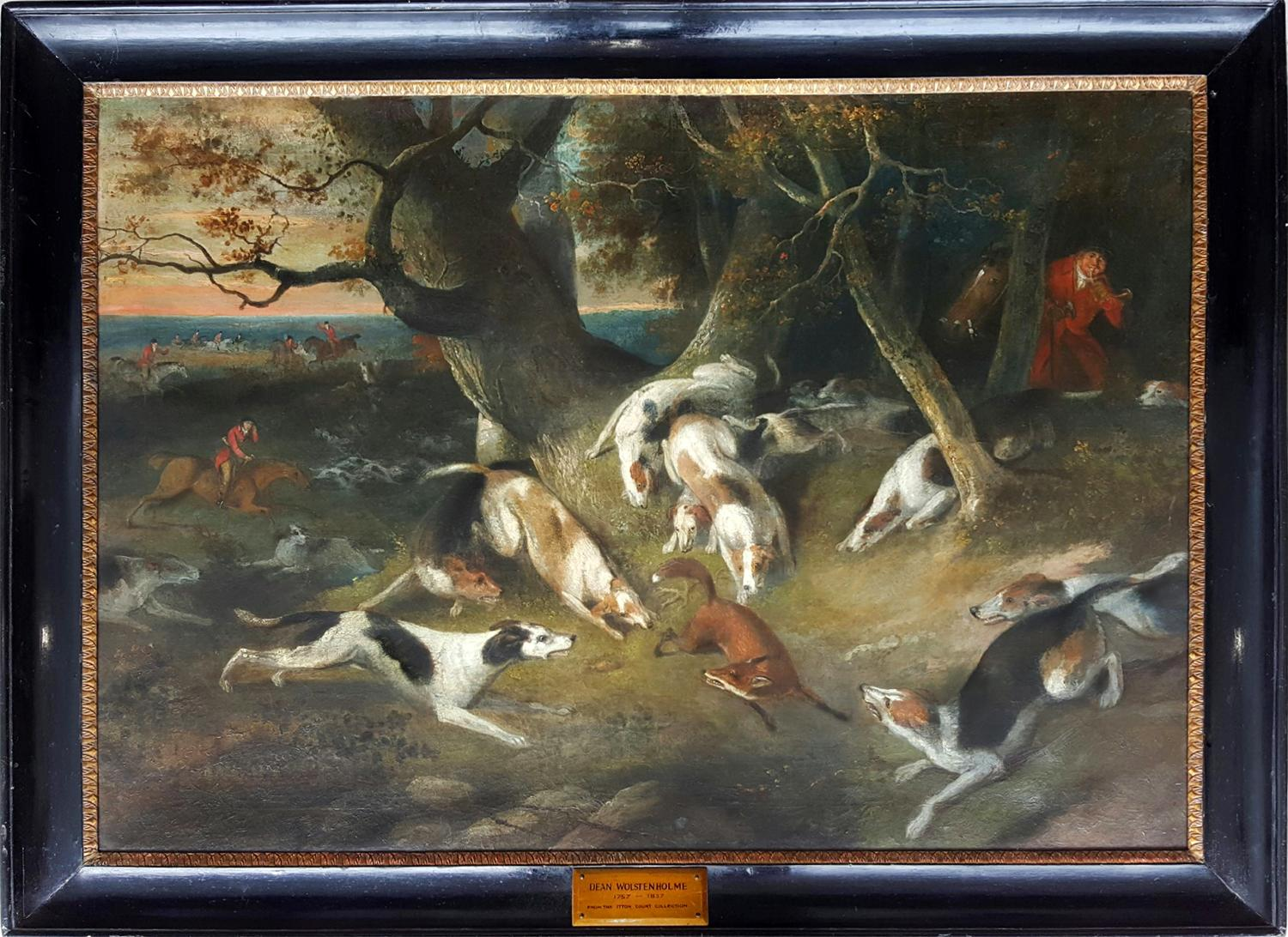 Hunting Scene with dogs attacking a fox