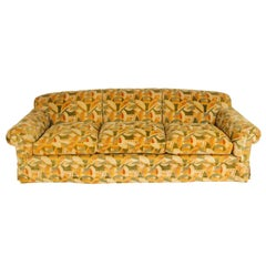 Deangelis Three-Seat Down Sofa in Clarence House Velvet Fabric