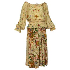 Deanna Littell French Provincial Floral Peasant Blouse and Midi Skirt - M, 1970s