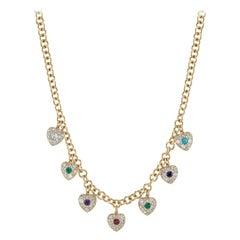 """DEAREST"" 18 Karat Yellow Gold Link Diamond and Gemstone Heart Charm Necklace"