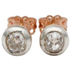 Dearest Victorian 1.63 Carat Old Mine Diamond Solitaire Stud Earrings