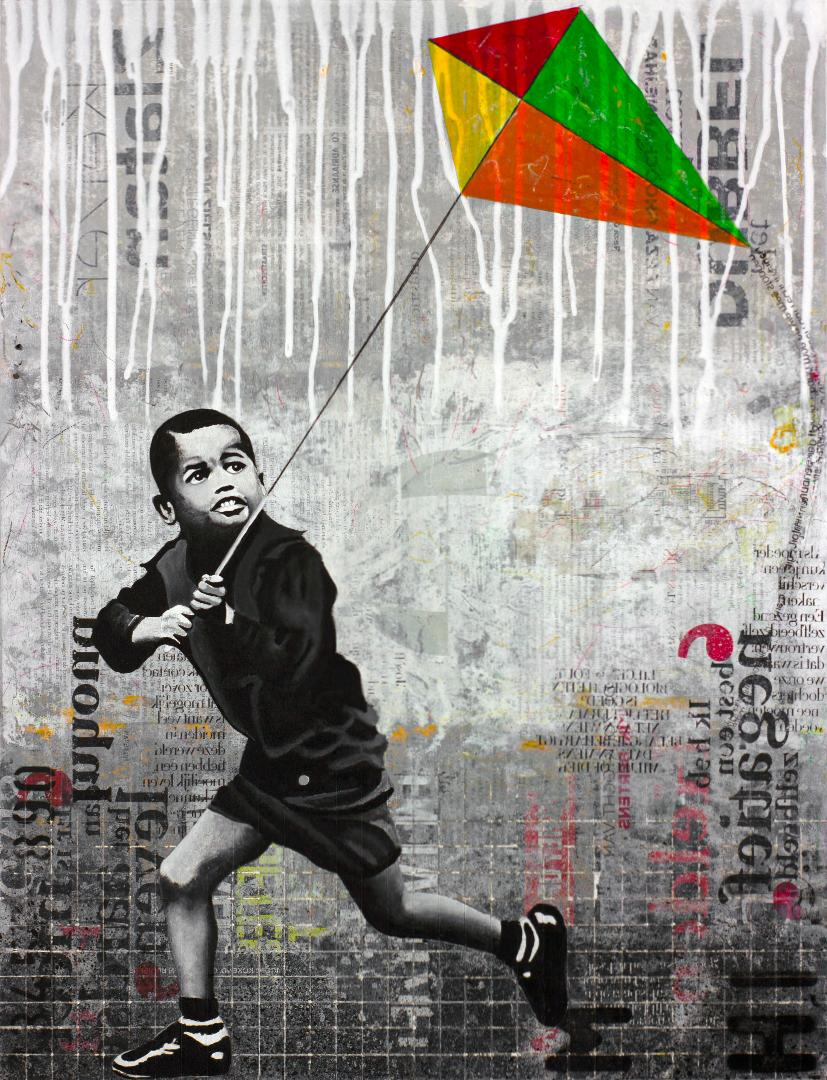 Kite Man - street art dominant grey painting on paper of boy with a kite