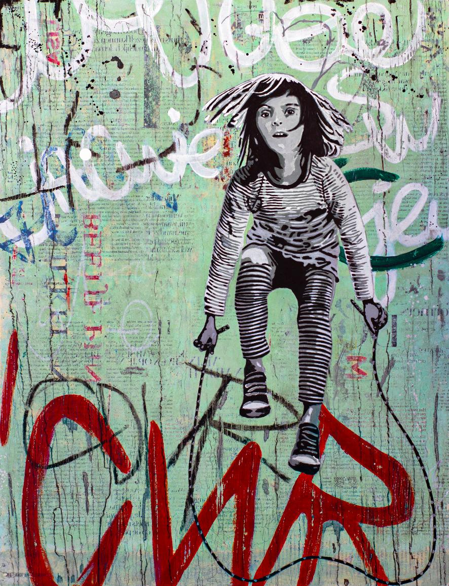 Stripes - street art grey, red and green painting on paper of girl with a rope