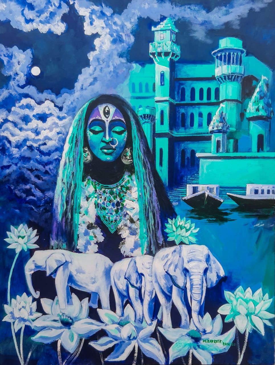 """Devi, Elephants, Acrylic on Canvas, Blue, Green by Contemporary Artist""""In Stock"""""""
