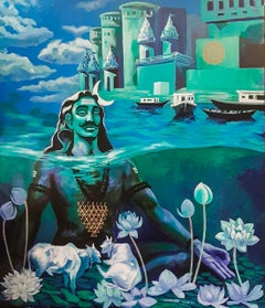 "Shiva, God, Acrylic on Canvas, Blue, Green by Contemporary Artist ""In Stock"""