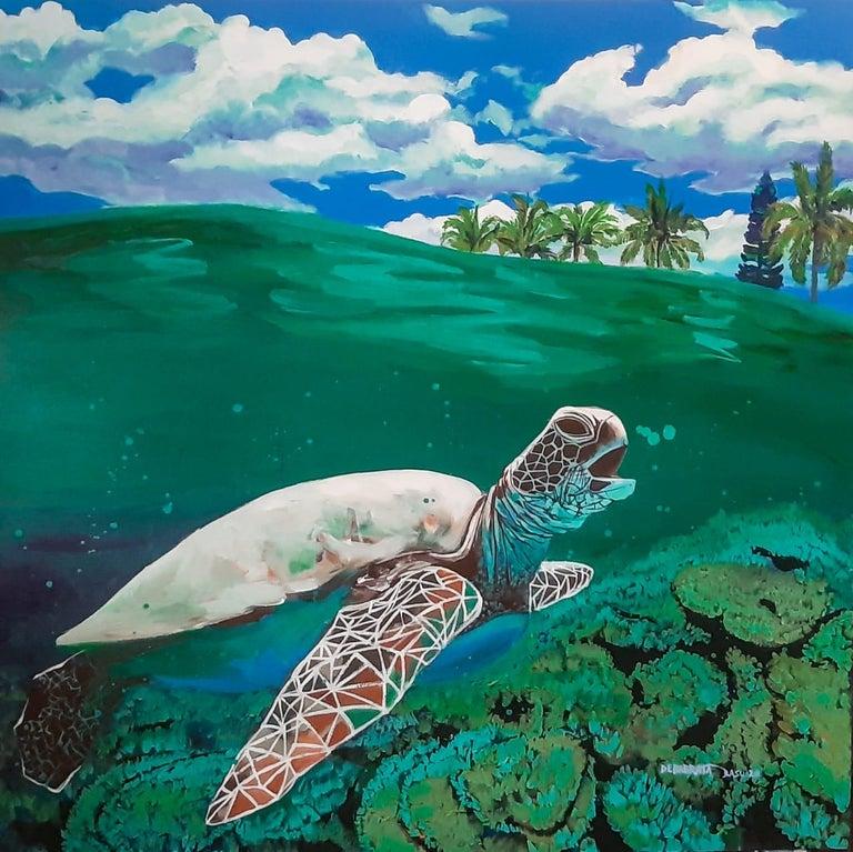 "Debabrata Basu Animal Painting - Tortoise, Animal, Acrylic on Canvas, Blue, Green, Contemporary Artist ""In Stock"""