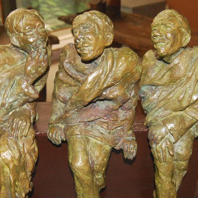 Adda,  Sculpture from Bengal depicts Men In Bronze By Indian Artist Debabrata De For Sale 2