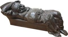"Babu Resting, Sculpture Bronze, Black Patina by Debabrata De ""In Stock"""