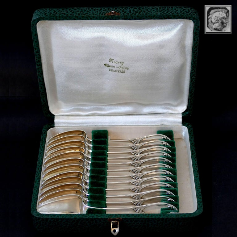 Debain French Sterling Silver Tea Coffee Dessert Spoons Set of 12 Pc Box Seaweed For Sale 6