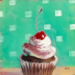 """""""After Dinner Mint""""  Small still life, cupcake, white frosting, cherry on green"""